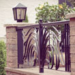 Wrought iron fence with lantern