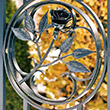 The rose. Decorative element of the wrought iron gate